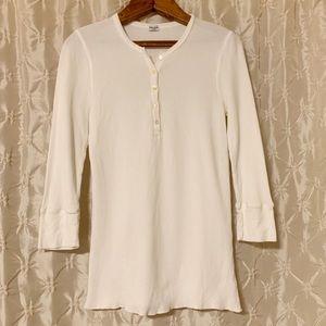 Splendid White Thermal Henley Shirt Modal